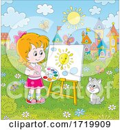 Poster, Art Print Of Cat And Happy Girl Painting Outside