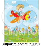 Boy Flying A Plane Over A Park