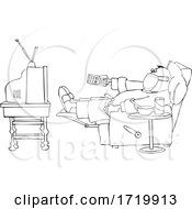 Sick Lineart Man Wearing A Mask While Watching TV At Home