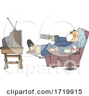 Sick Man Wearing A Mask While Watching TV At Home