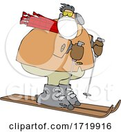 Cartoon Overweight Man Wearing A Mask And Skiing
