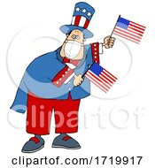 Cartoon Uncle Sam Wearing A Covid Mask And Waving American Flags