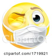 Poster, Art Print Of Emoji Emoticon Ppe Medical Mask Face Winking