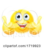 Poster, Art Print Of Thumbs Up Emoticon Emoji Face Cartoon Icon
