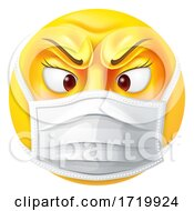 Poster, Art Print Of Angry Female Emoticon Emoji Ppe Medical Mask Icon