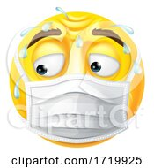 Poster, Art Print Of Worried Sweating Emoticon Emoji Ppe Mask Face Icon