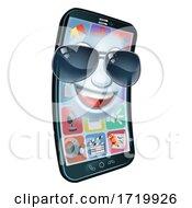 Mobile Phone Cool Shades Cartoon Mascot