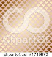 Golden Hearts Pattern Background