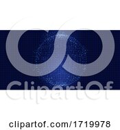 Poster, Art Print Of Abstract Background With A Sphere Of Techno Dots