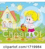 Girl Watering Carrots In A Garden