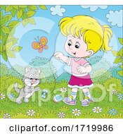 Poster, Art Print Of Girl Playing With Her Kitten Outdoors