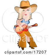 Sexy Blond Caucasian Cowgirl In Chaps A Bra And Underwear Playing A Guitar While Entertaining On Stage