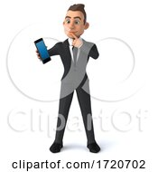 3d Young White Businessman On A White Background