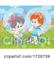 Poster, Art Print Of Girls Playing Outside