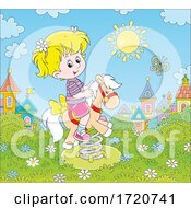 Poster, Art Print Of Girl Playing On A Pony