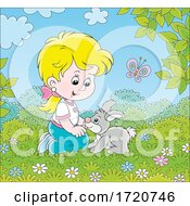 Girl Playing Outside With Her Pet Rabbit