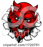 Devil Satan Evil Mascot Cartoon Face by AtStockIllustration