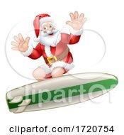 Santa Claus Christmas Surfing Surf Board Cartoon