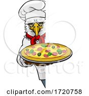 Poster, Art Print Of Eagle Pizza Chef Cartoon Restaurant Mascot Sign