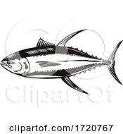 Yellowfin Tuna Or Thunnus Albacares Swimming Side Retro Woodcut Black And White
