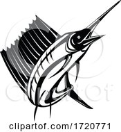Atlantic Sailfish Or Indo Pacific Sailfish A Billfish Jumping Up Retro Woodcut Black And White