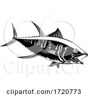 Yellowfin Tuna Thunnus Albacares Or Ahi Swimming Side Retro Black And White
