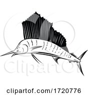 Indo Pacific Sailfish Or Billfish Jumping Up Side Retro Woodcut Black And White