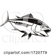 Bigeye Tuna Thunnus Obesus Swimming Down Retro Black And White
