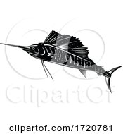 Atlantic Sailfish Or Indo Pacific Sailfish Jumping Up Retro Woodcut Black And White
