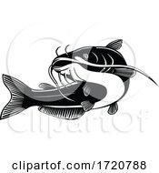 North American Blue Catfish Ictalurus Furcatus Swimming Up Retro Woodcut Black And White