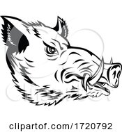 Wild Boar Common Wild Pig Or Wild Swine Head Side Mascot Black And White