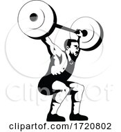Weightlifter Lifting Barbell Side View Retro Woodcut Black And White