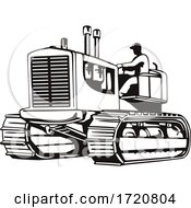 Vintage Large Heavy Tractor Or Tracked Heavy Equipment Side View Retro Woodcut Black And White