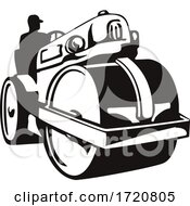 Vintage Road Roller Roller Compactor Or Steamroller Front View Retro Woodcut Black And White