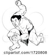 Professional Sumo Wrestler Or Rikishi In Fighting Stance Ukiyo E Or Ukiyo Black And White Style