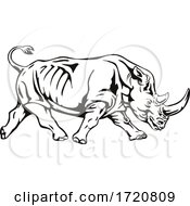 Poster, Art Print Of Northern White Rhinoceros Or Square Lipped Rhinoceros Charging Side View Retro Woodcut Black And White