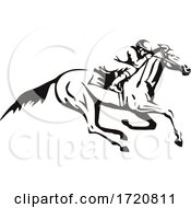 Jockey Riding Horse Horseback Or Horse Racing Retro Black And White
