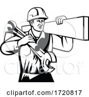 Handyman Or Builder Carrying Timber Spanner And Spade Retro Black And White