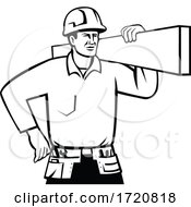 Builder Or Handyman Wearing Hard Hat Carrying Timber Retro Black And White