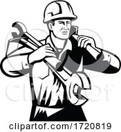 Handyman Or Builder Wearing Hard Hat Carrying Spanner And Spade Retro Black And White