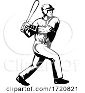 Baseball Player Batting Viewed From Side Retro Black And White