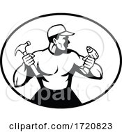 Builder Handyman Painter Or Carpenter Holding Drill And Hammer Retro Black And White
