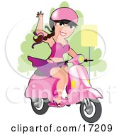 Sexy Long Haired Burnette Caucasian Woman With Her Skirt Being Blown Up By The Wind While Waving And Riding Her Vespa Scooter And Wearing A Pink Helmet Clipart Illustration