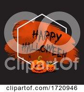 Grunge Halloween Background With Pumpkins And Hanging Spider