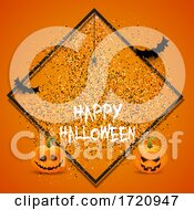 Halloween Background With Confetti And Pumpkins