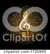 Clef Music Symbol On Gold Glitter Background