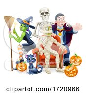 Poster, Art Print Of Halloween Fun Family Or Friends Group Cartoon