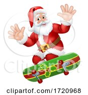 Poster, Art Print Of Santa Claus Skateboard Skater Christmas Cartoon