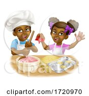 Poster, Art Print Of Black Girl And Boy Cartoon Child Chef Cook Kids