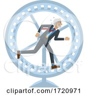 Business Man Hamster Wheel Stress Running Concept
